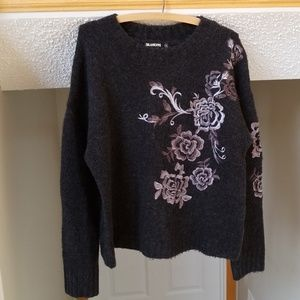 [BLANKNYC] wool floral embroidered zipper sweater